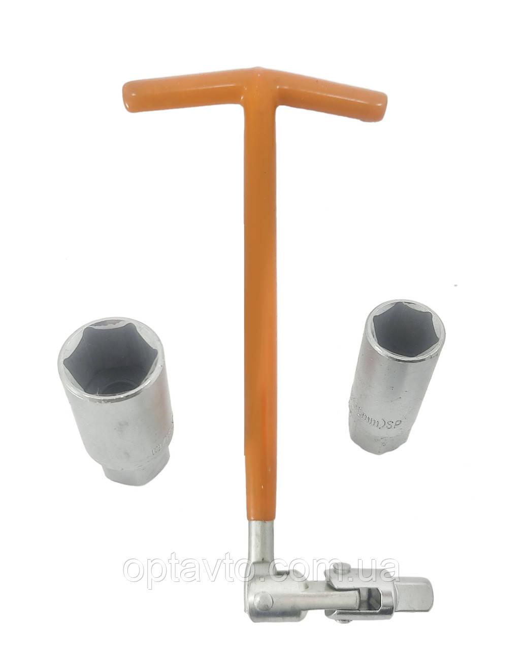 Свечной ключ усиленный 2 удлиненные головки 16 и 21 мм. Ключ свечной торцевой, шарнирный