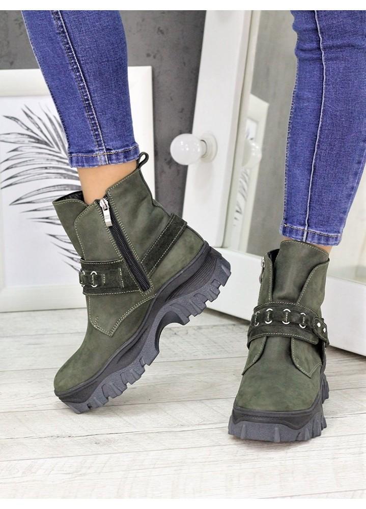 Женские зимние ботинки изумрудного цвета Forever 7235-28з