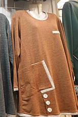 Свободная туника для полных осенняя коричневая, фото 3