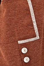 Свободная туника для полных осенняя коричневая, фото 2
