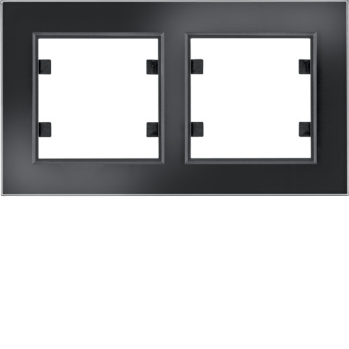 Рамка 2Х горизонтальная Lumina-Passion черное стекло