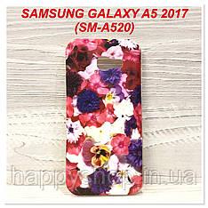 Силиконовый чехол с рисунком для Samsung Galaxy A5 2017 (SM-A520) Цветы