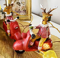 Новогоднее елочное украшение Олень на мопеде, 10см, 2 вида, фото 1