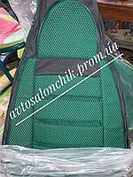 Чехлы сидений на Славуту ЗАЗ 1103 кожзаменитель с тканью ПИЛОТ зеленые