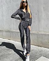 Голографический женский костюм из люрекса в спортивном стиле, фото 1