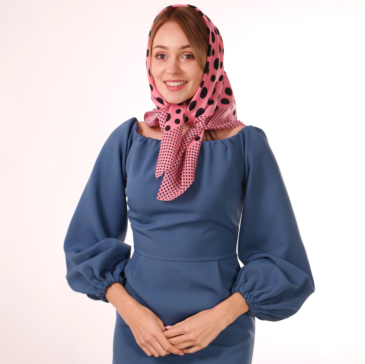 Хустка кашемірова рожева з принтом    75х75 см. К75/68