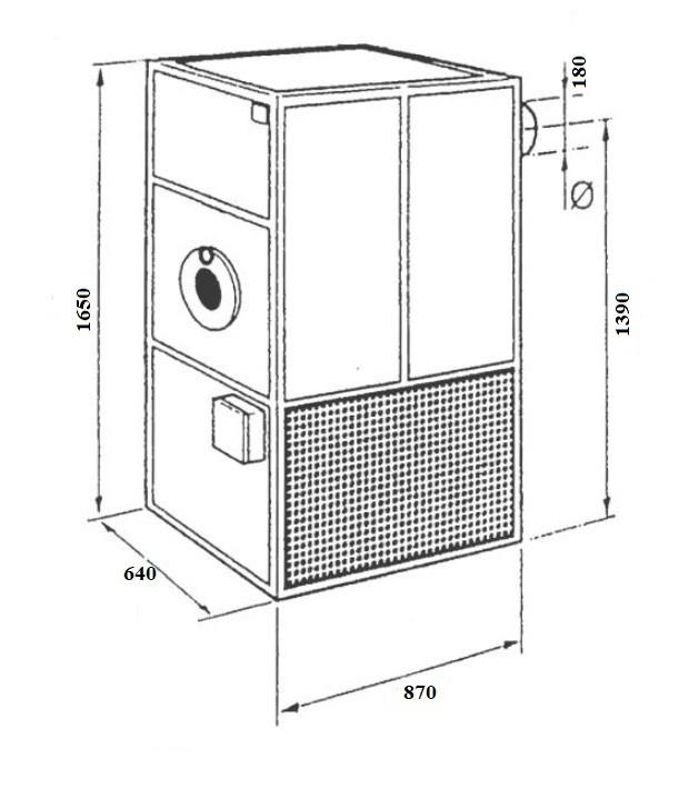 Габариты Воздухонагреватель на отработке MTM MP-50 (60 кВт) Фото
