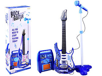 Детская електро гитара с микрофоном и усилителем голубая 1554