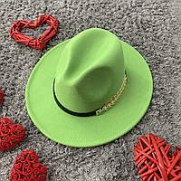 Шляпа Федора унисекс с устойчивыми полями Golden Leaf салатовая, фото 1
