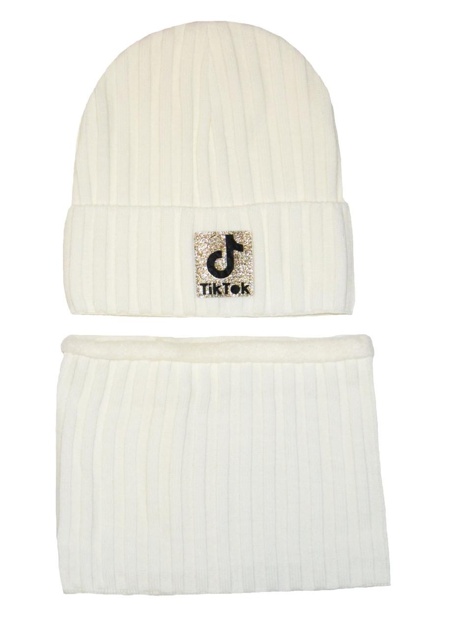 Комплект (шапка, шарф-снуд) детский Tik Tok белый