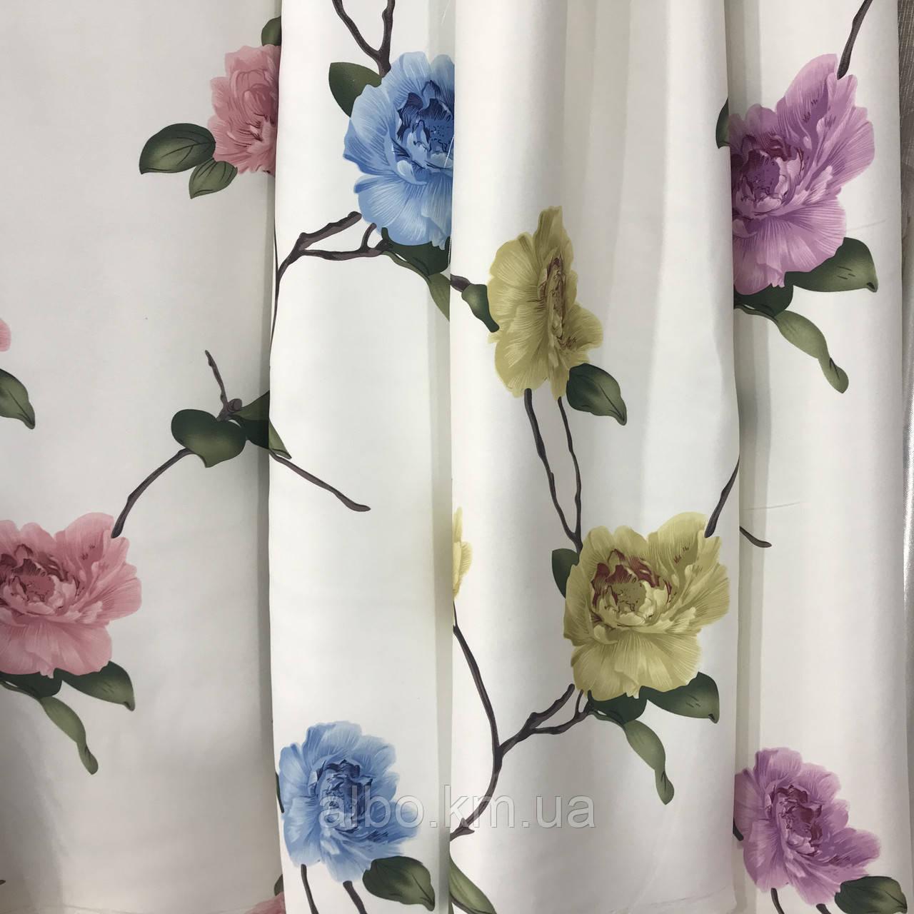 Шторная ткань с цветами, высота 2.8 м на метраж (614)