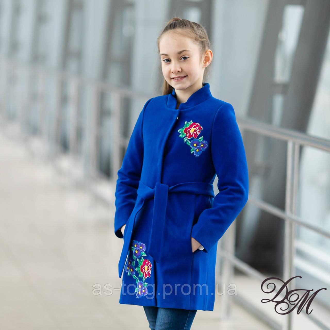 Элегантное кашемировое пальто для девочки « Вышивка - 7 »