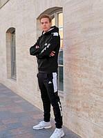 Спортивный костюм теплый мужской Adidas(адидас). Утепленный спортивный костюм Adidas(адидас) черный на флисе