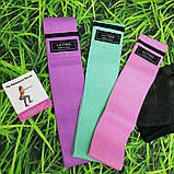 Фітнес гумки набір 3 шт тканинні для фітнесу в мішечку Стрічки опору Еспандери для ніг і сідниць, фото 5