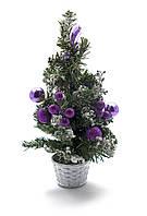 Елка с фиолетовыми украшениями новогодняя 30 см.