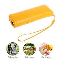 Ультразвуковой отпугиватель собак c фонариком и функцией тренировки VJTech AD-100 желтый! Топ продаж