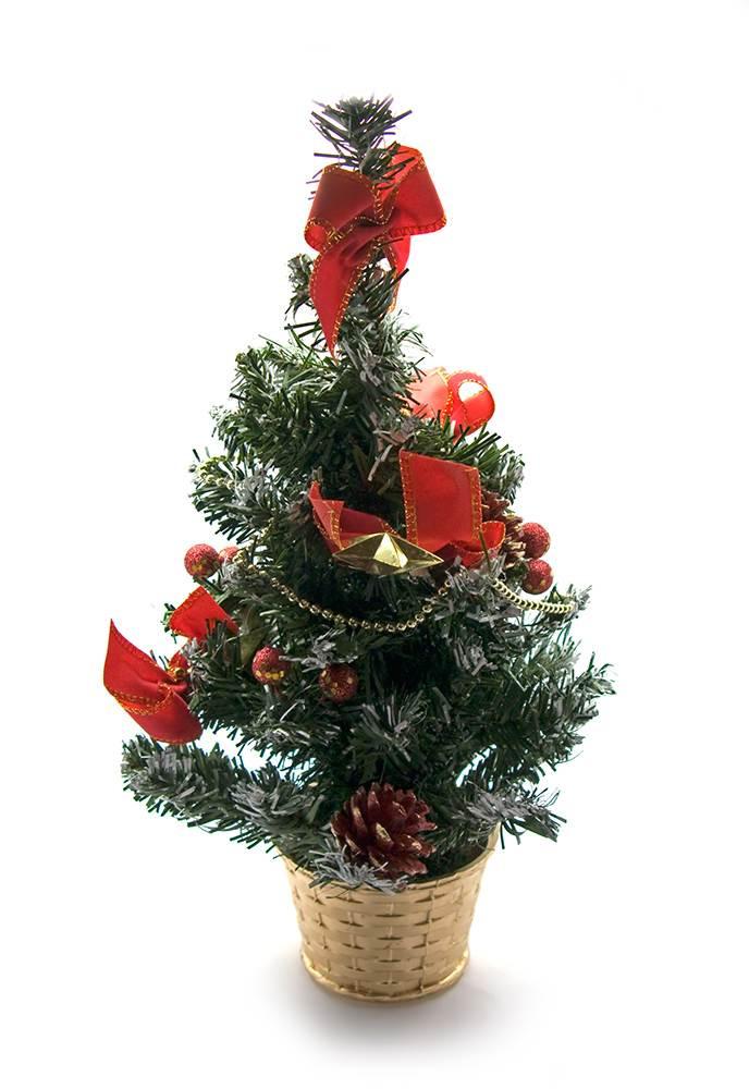 Елка в красных украшениях новогодняя 40 см.
