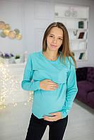 7612 Лонгслив для беременных Бирюза