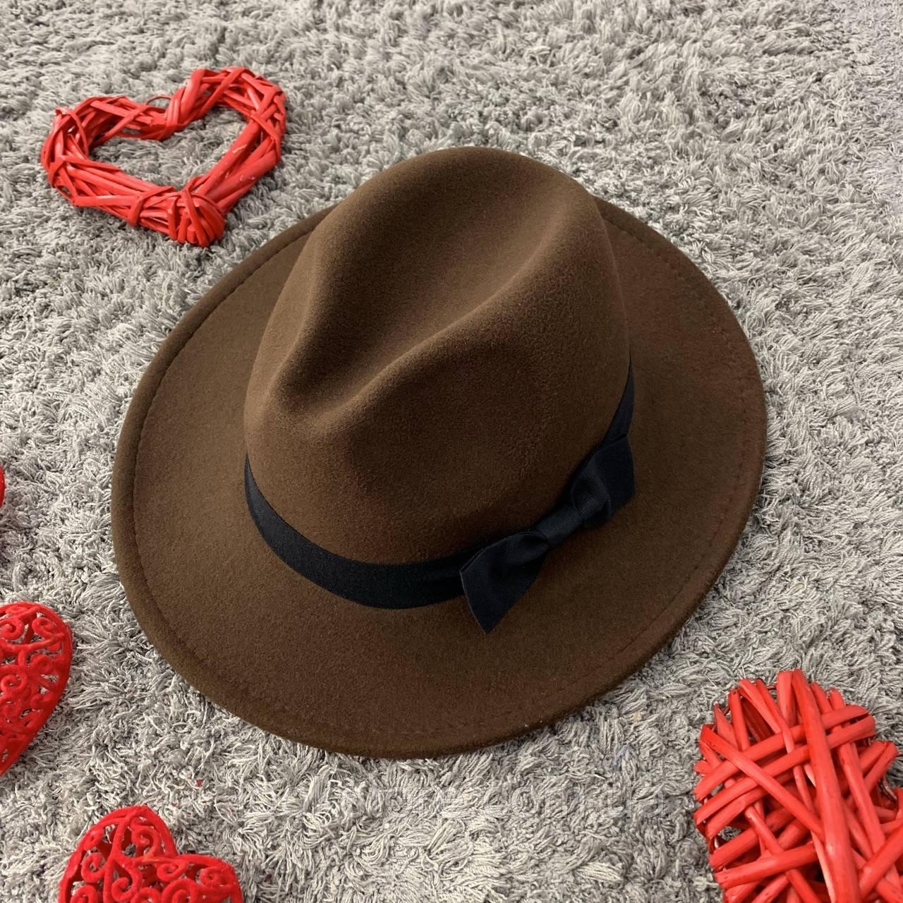Шляпа Федора унисекс с устойчивыми полями и бантиком коричневая