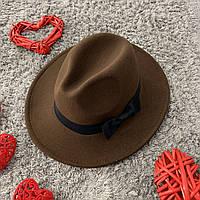Шляпа Федора унисекс с устойчивыми полями и бантиком коричневая, фото 1