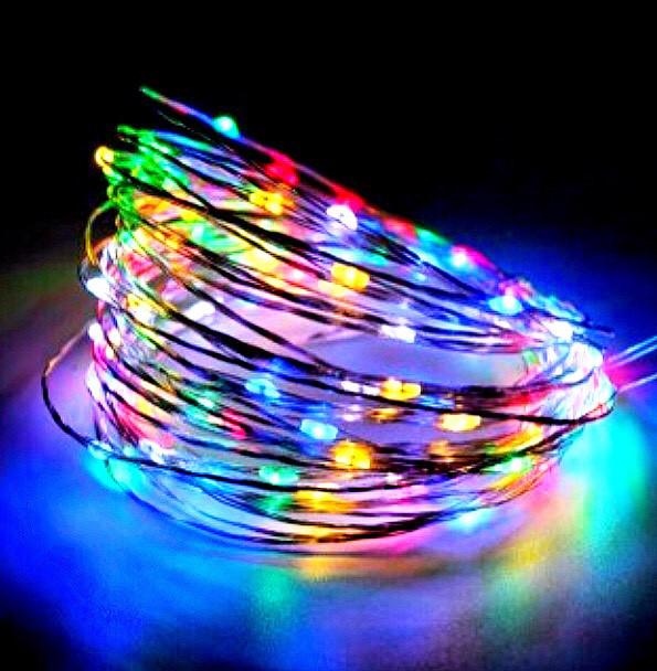 """Гирлянда """"Роса"""" на батарейках+USB, 10 м, 3 режима свечения, цвета: золото, белый, синий, микс."""