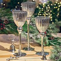 Новогодние стеклянные подсвечники набор 3 шт (цвет -серебро), фото 1