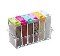Кухонная подставка для хранения приправ и специй с 6-ю емкостями Seasoning Six Piece Set   спецовник 6 шт!