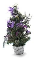 Елка декоративная новогодняя Серебристо-фиолетовые украшения 40 см.