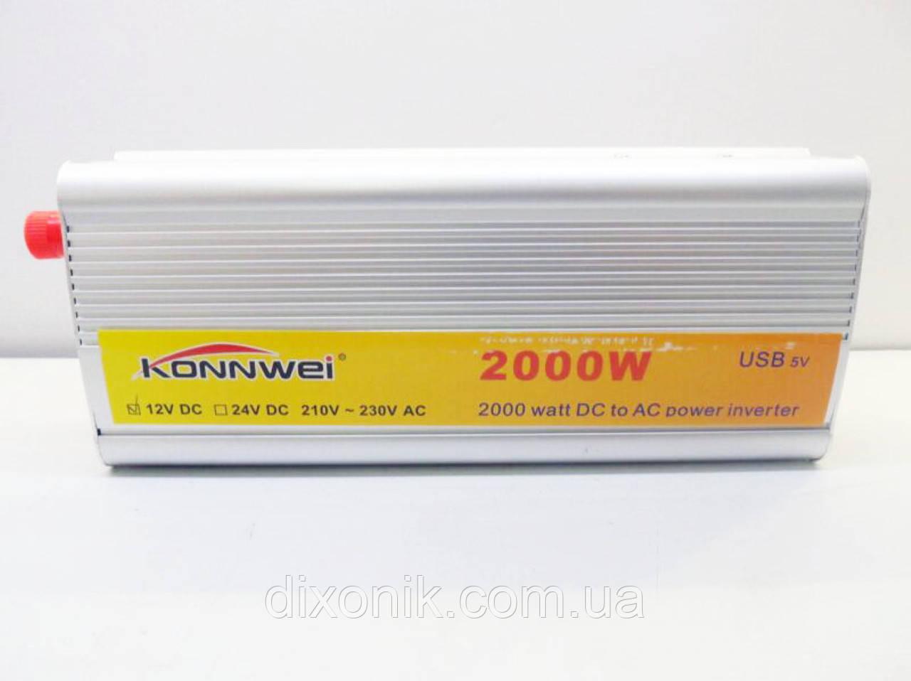 Преобразователь напряжения авто инвертор konnwei 12V-220V 2000W
