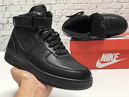 Зимние высокие кожаные кроссовки на меху черного цвета Nike Air Force 1 Mid Triple Black Найк Аир Форс зимние