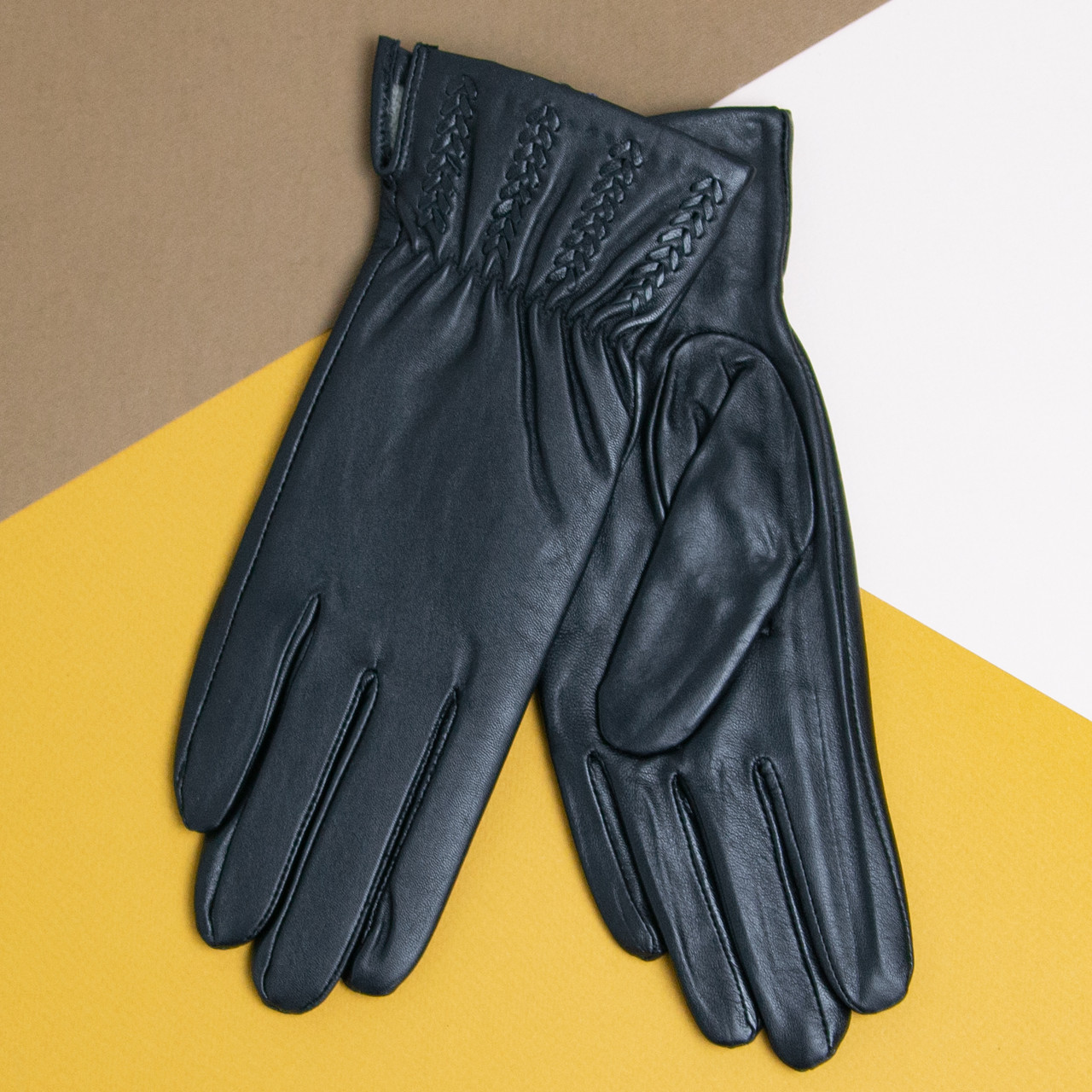 Оптом женские кожаные перчатки с вязаной шерстяной подкладкой (арт. F4-1)