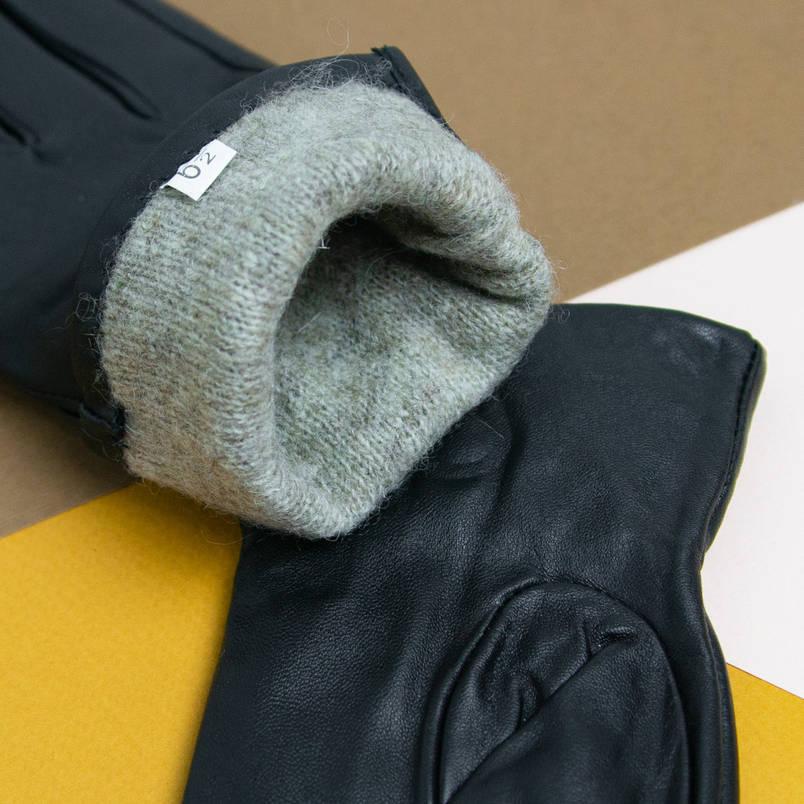 Оптом женские кожаные перчатки с вязаной шерстяной подкладкой (арт. F4-1), фото 2