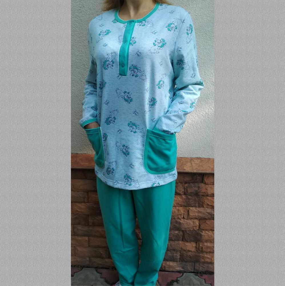 Пижама женская теплая с пуговицами (кофта, штаны) футер, р116, Украина, 20036874