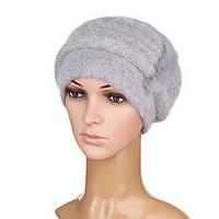 Вязаная женская шапка Anna ангора серого цвета, фото 1
