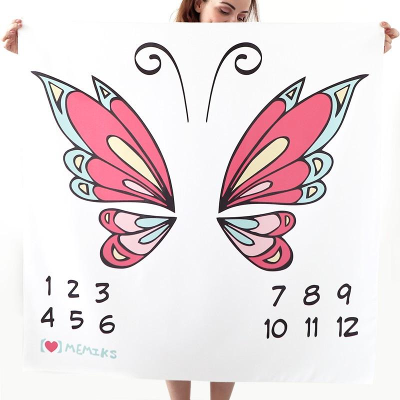 """Фотофон-пеленка для детских фотосессий по месяцам """"Бабочка"""""""