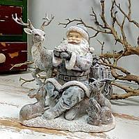 Новогодняя статуэтка под елку Санта с животными, 19.5см, фото 1