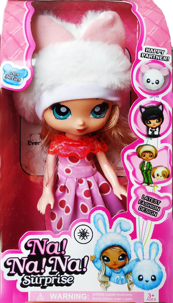 """Кукла """"Na Na Na"""" c роскошными волосами и меховой шапочкой 18см (вид 5)"""