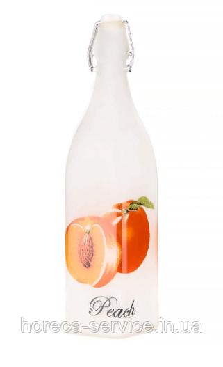Бутылка стелянная для жидких продуктов с бугельной пробкой молочного цвета V 1000 мл (шт)