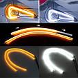 Неон в фары ДИНАМИЧЕСКИЙ поворот, ДХО, DRL + Turn, Гибкие дневные ходовые огни с бегущим поворотом (2 х 60 см), фото 3
