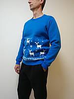 Толстовка унисекс синяя с новогодним принтом