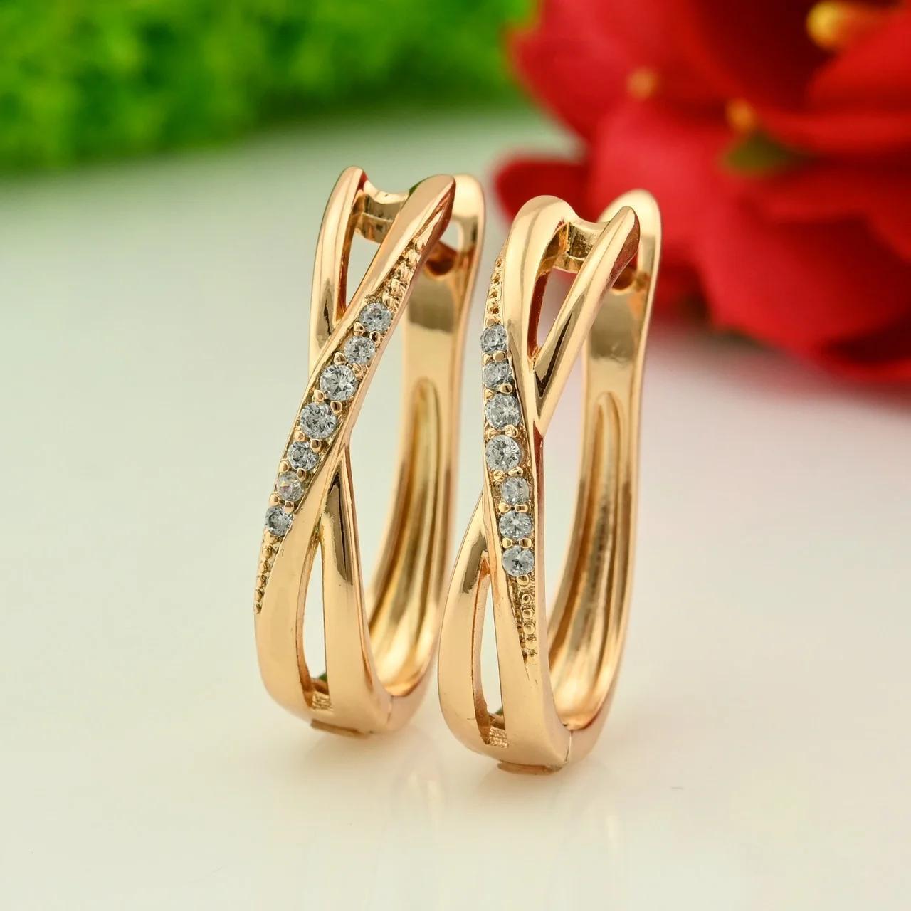 Серьги Xuping длина 2.3см медицинское золото позолота 18К с801