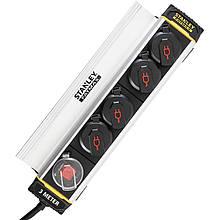 Сетевой фильтр Stanley Fatmax 3 м, 3x1.5мм2, IP44, 4 розетки с крышками, алюминий
