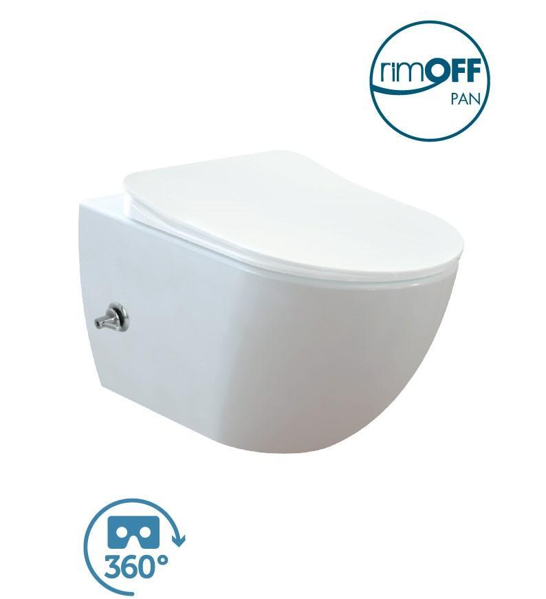 FREE Rim-Off Унітаз підвісний FE322.00500 безободковый, з функцією біде, кришка з сидінням Duroplast, з