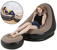 Надувной диван AIR SOFA | Надувное велюровое кресло с пуфиком Коричневый