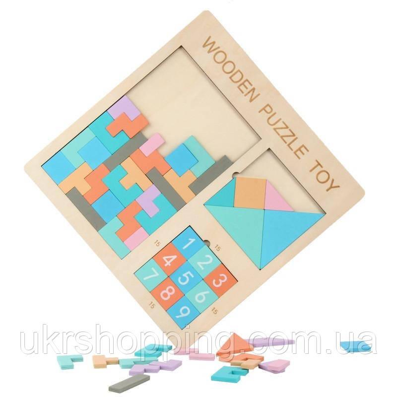 Развивающие игрушки - пятнашки деревянный пазл Wooden Puzzle Toy 3в1 головоломка для детей