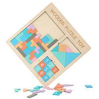 Развивающие игрушки - пятнашки деревянный пазл Wooden Puzzle Toy 3в1 головоломка для детей, фото 1