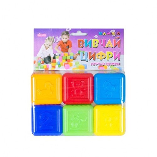 Кубики Изучай цифры 6шт BAMSIK