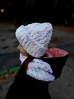 Детский теплый комплект шапка + снуд шарф для девочки 1-12 лет из пряжи Ализе