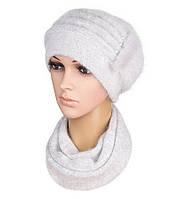 Комплект шапка и шарф вязаный женский Anna ангора светло-серого цвета, фото 1