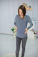 7616 Лонгслив для беременных Белый в синюю узкую полоску, фото 1